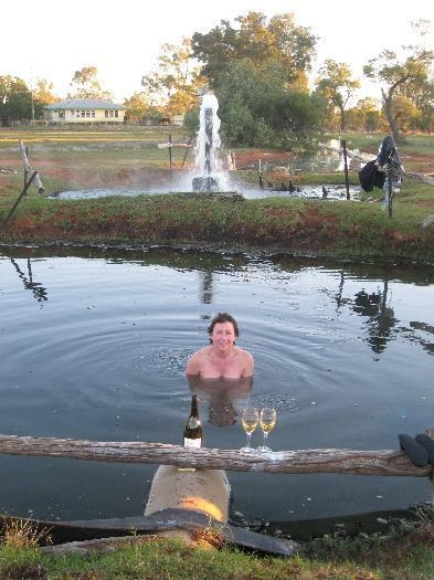 40 deg. water from the free flow bore at sunset & a glass of wine.