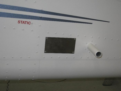 Data plate attached near rear pull handle