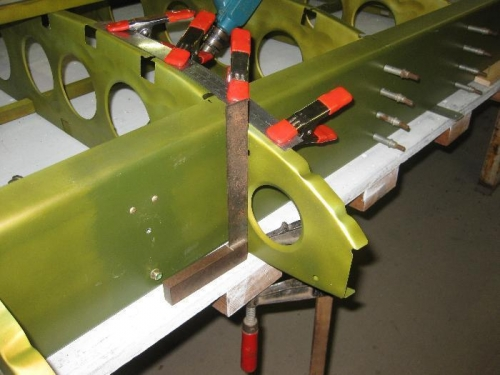 Checking for being square & using the clamps when drilling the nose ribs