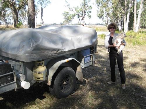 The borrowed camp trailer