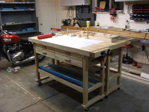 (2) H.F.Tools work benches clamped together, just add wheels, A 68 T. Bonneville for stress relief.
